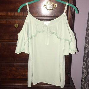 NWT sea foam green cold shoulder top!!
